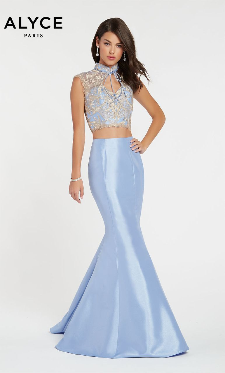 616c782be2 Alyce Paris Style 60370 Two Piece Shimmery Mikado Mermaid Style With A  Trendy Top Straight Off The Haute Couture Runways In Paris!