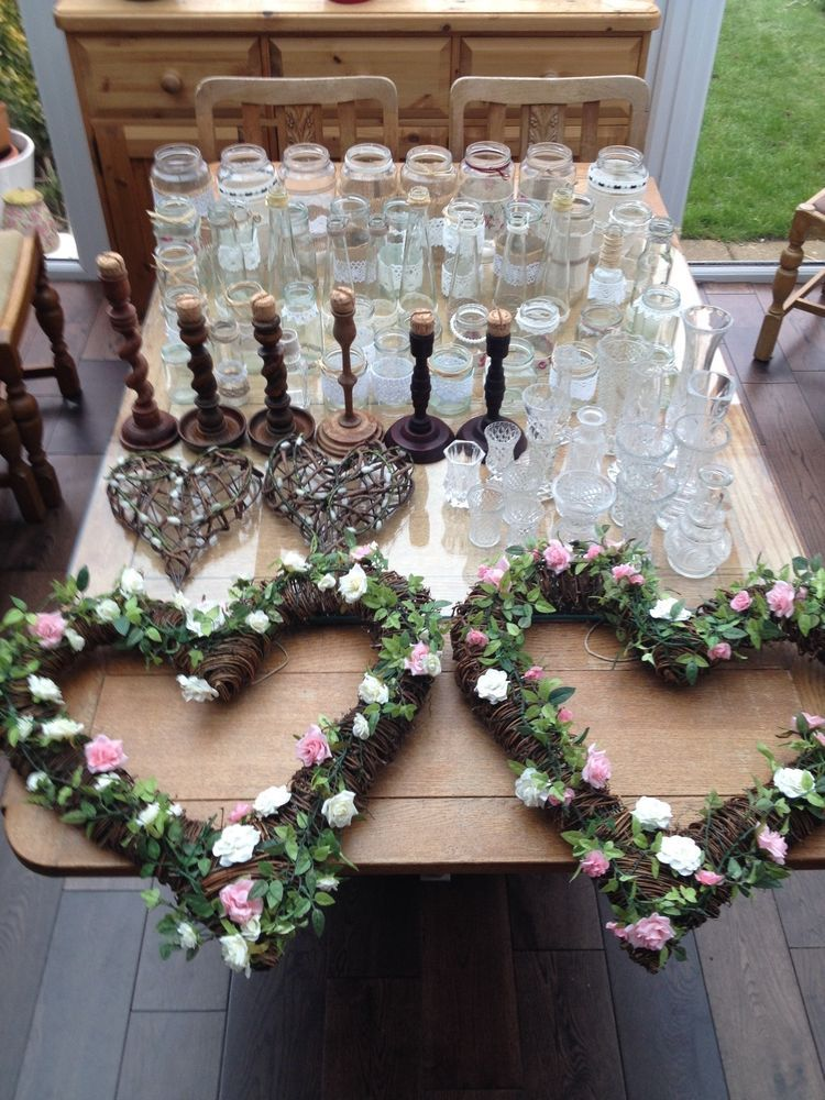 Hand decorated, rustic, wedding jam jars and accessories