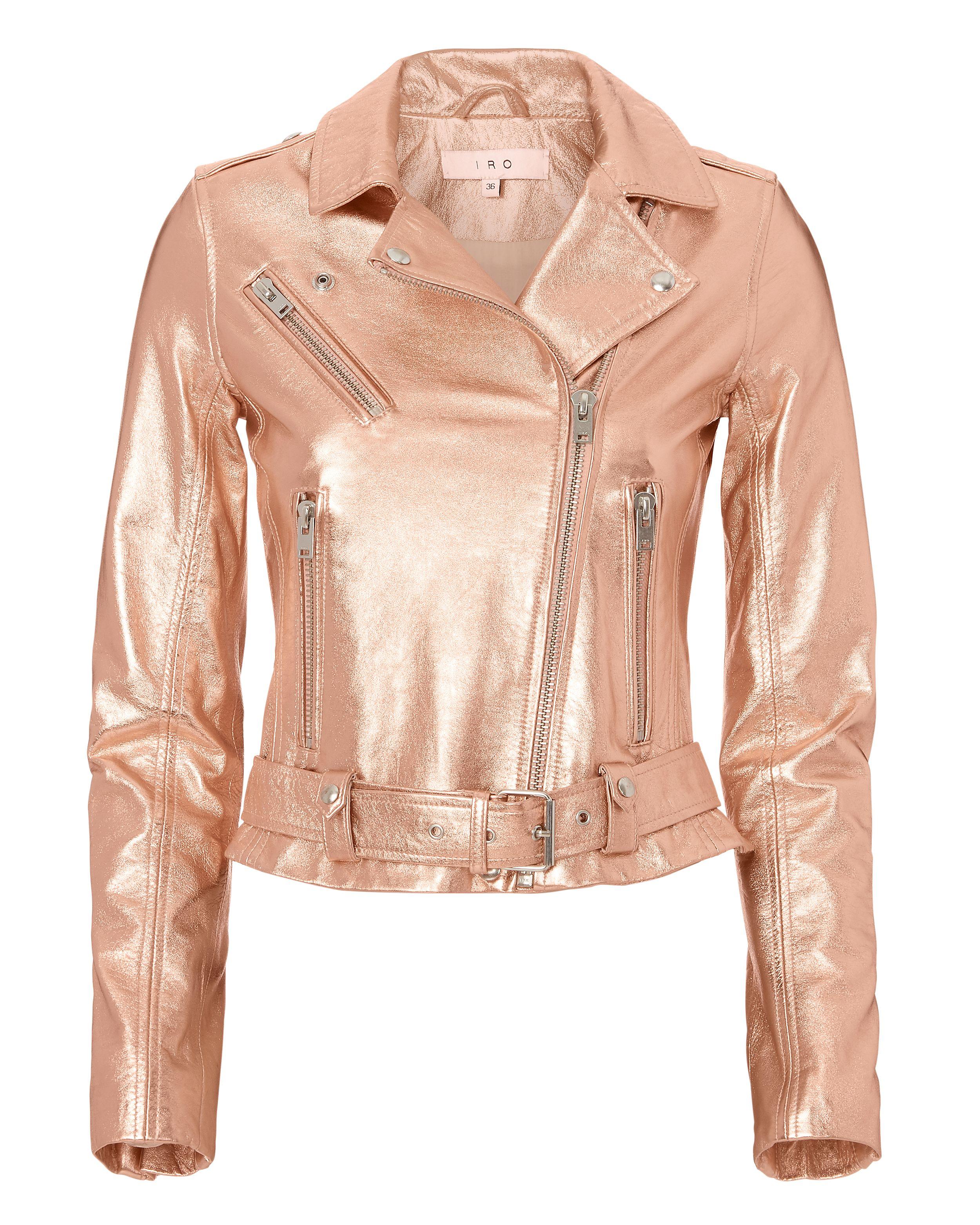 8ebc1f86281b IRO BROOKLYN ROSE GOLD LEATHER MOTO JACKET METALLIC.  iro  cloth ...