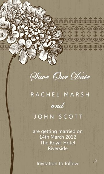Rustic Flower Save The Date