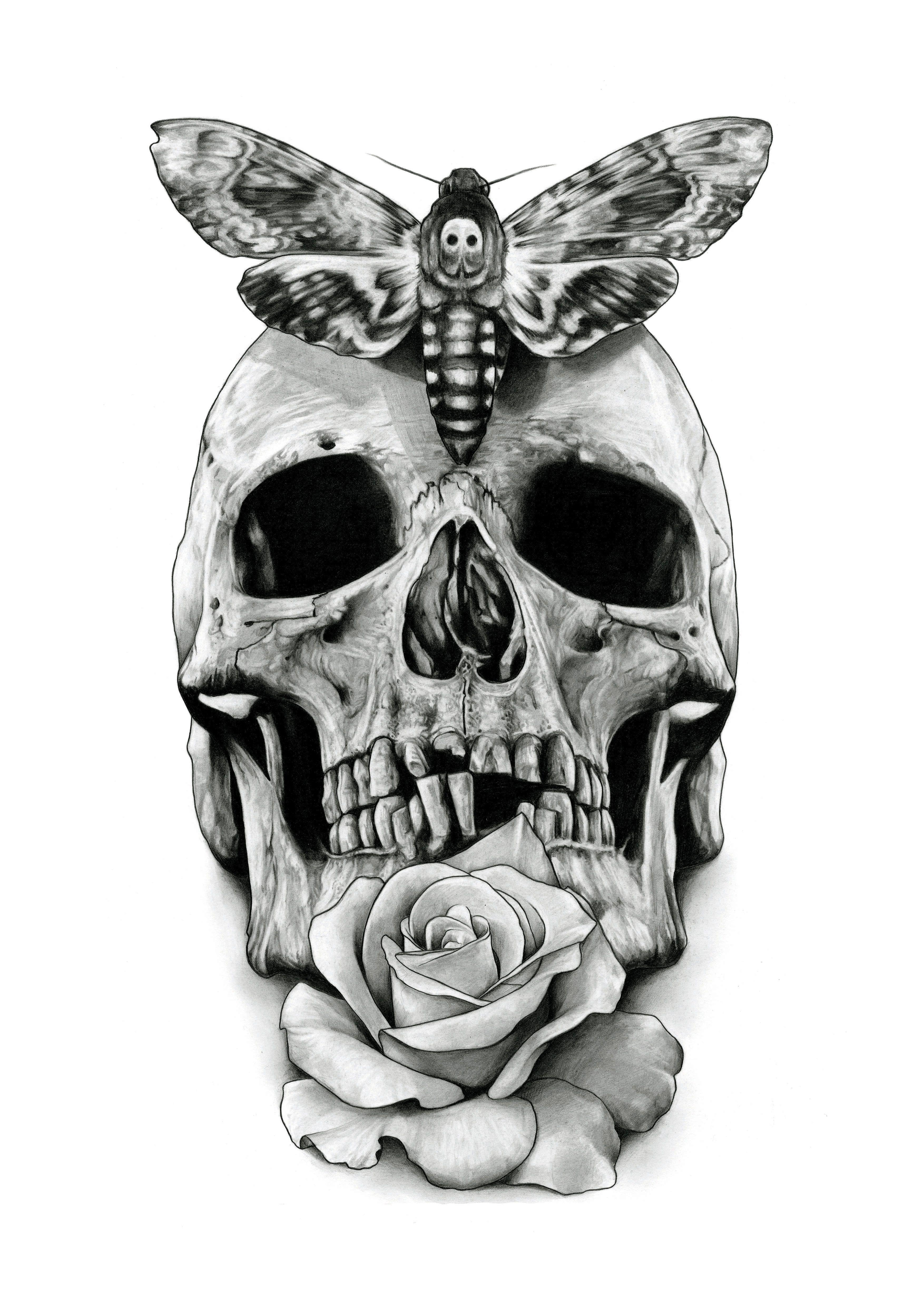 Skull Tattoo Design Drawing By Aaronkingillustrator Tattoos That I