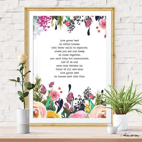 House Quotes Quote Prints Art Best Floral Watercolor Print Poster Little Houses Identity