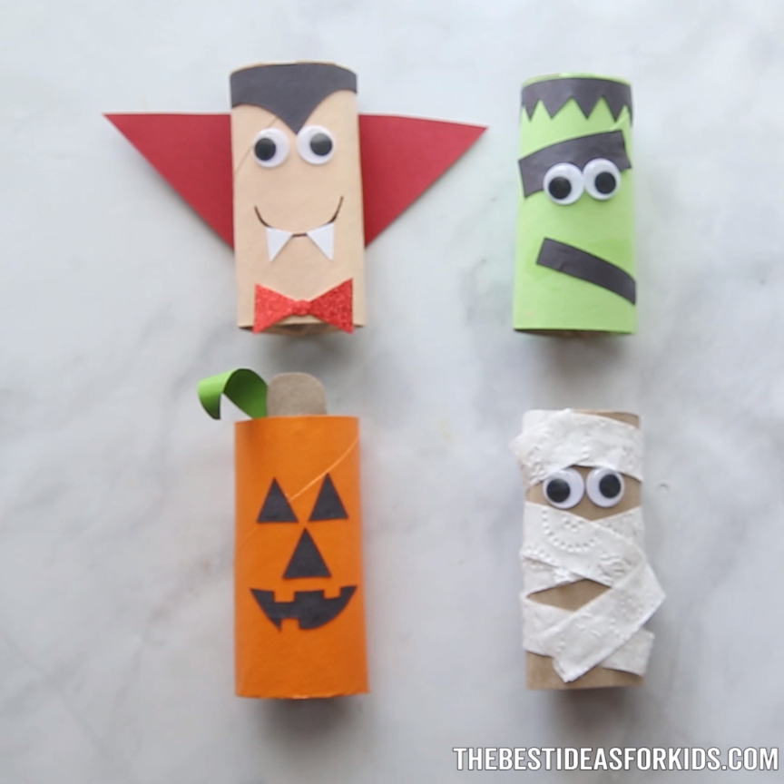 Halloween Toilet Paper Roll Crafts #toddlerhalloween
