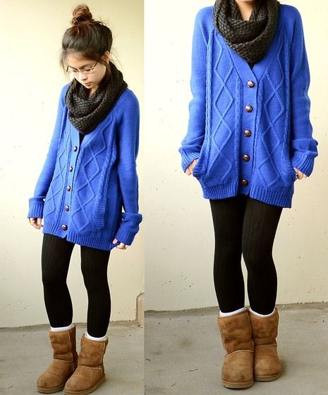 Long Sweater Scarf Leggings And Boots Winter Fashion