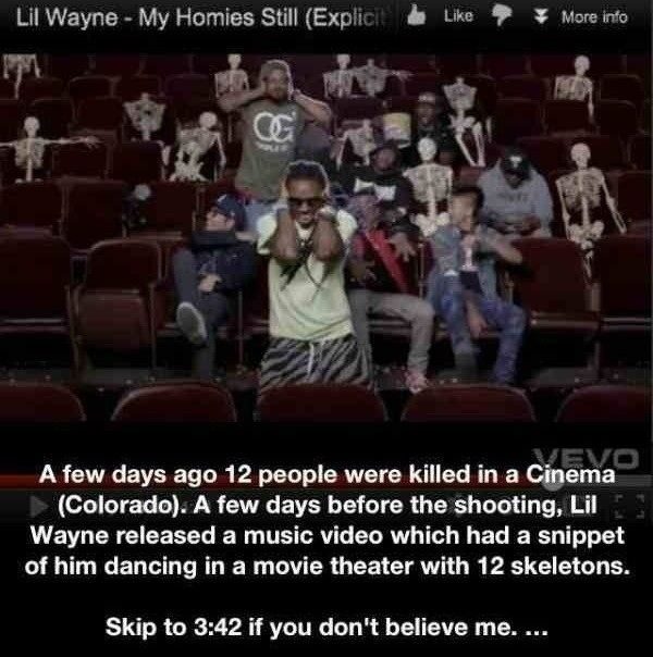 Colorado Shooting Lil Wayne Video: A Strange Coincidence. 12 Skeletons, In A Theater, Days