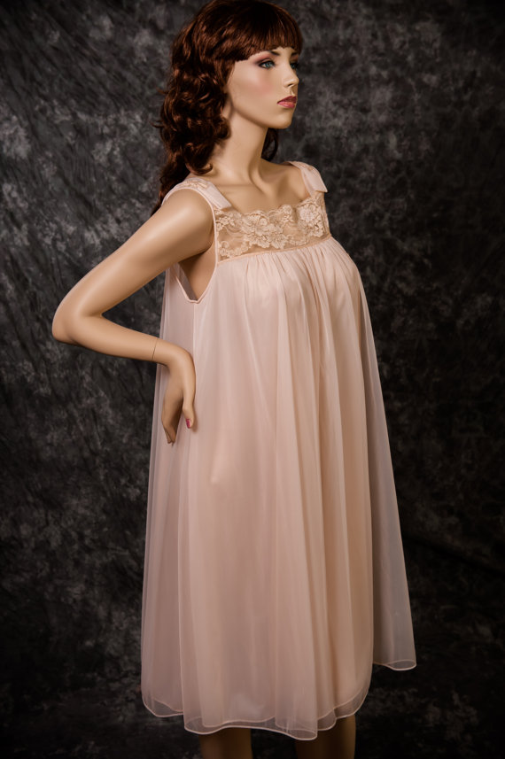 vintage vanity fair lingerie nightgown chiffon by