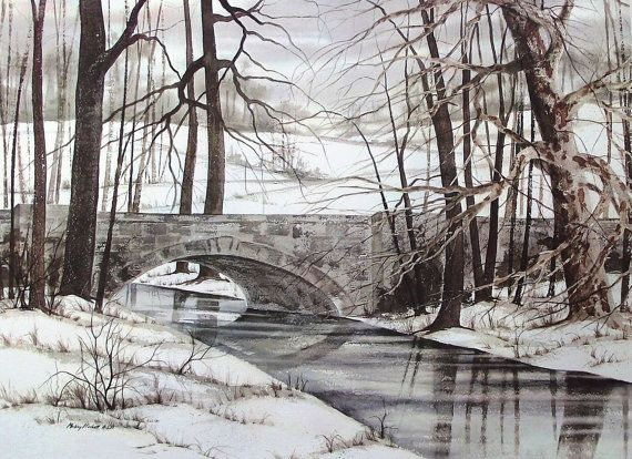 Vintage Fine Art Watercolor Print  Winter