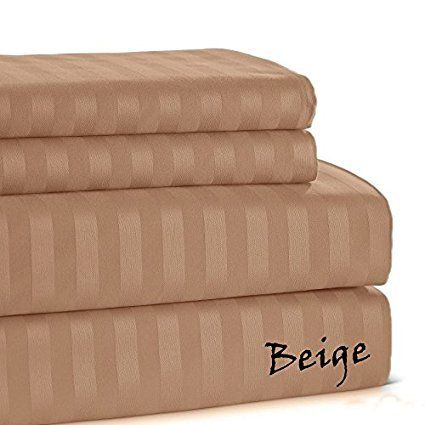 500 Thread Count Bedroom Best Quality Egyptian Cotton Beige Stripe 4 Pieces Coziest