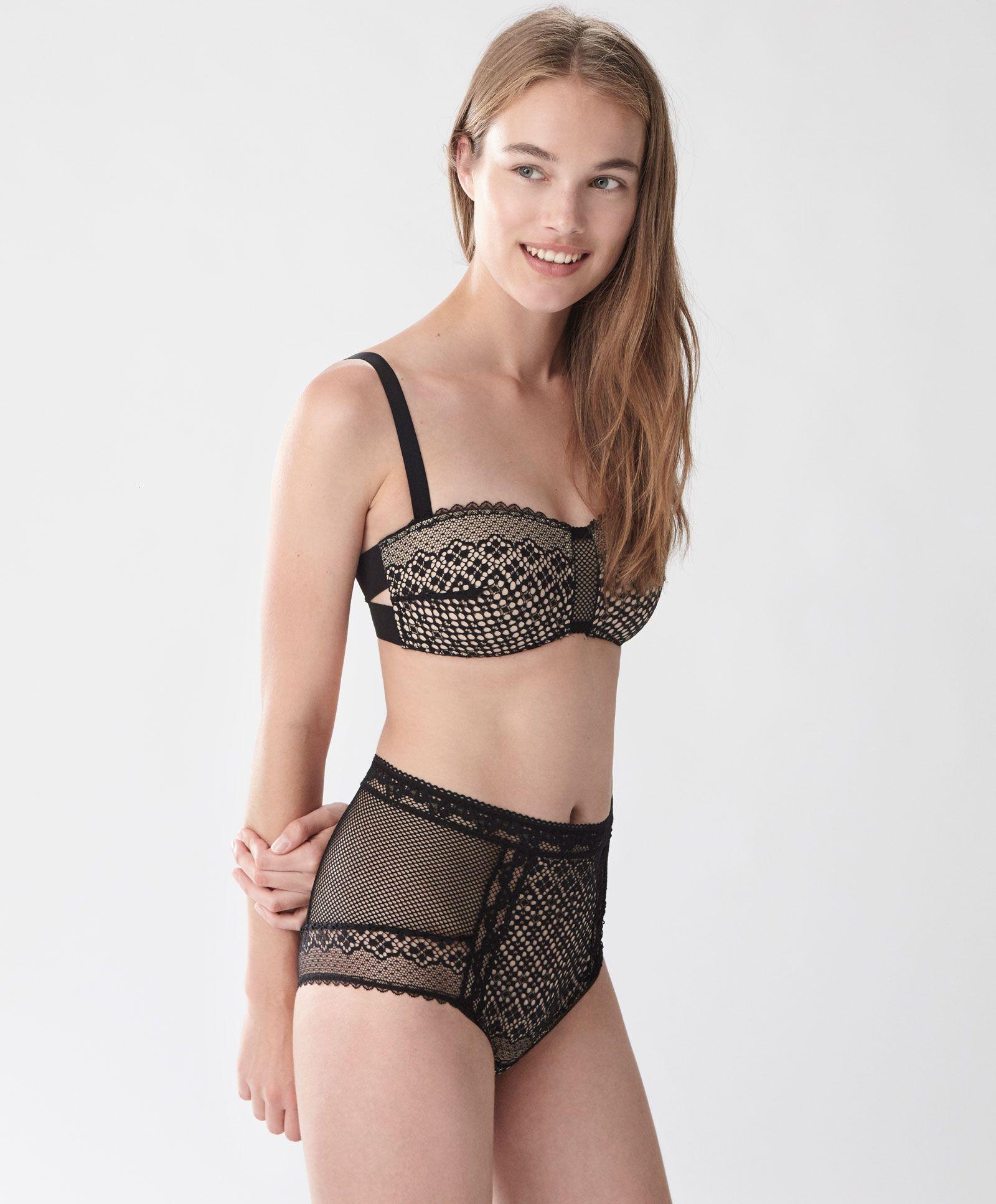 4a5a99956fe Sujetador bandeau encaje flor - Ver Todo - Tendencias AW 2016 en moda de  mujer en Oysho online  ropa interior
