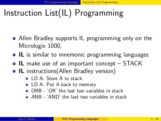 Plc Programming Languages Instruction List Plc Programming