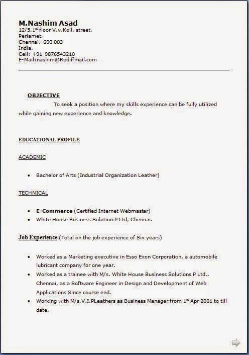 free sample resume Excellent CV \/ Resume \/ Curriculum Vitae with - sample resume format for freshers