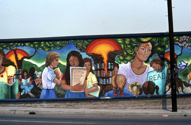 Read mural the 10 foot by 40 foot work on the exterior of for Anthony quinn mural