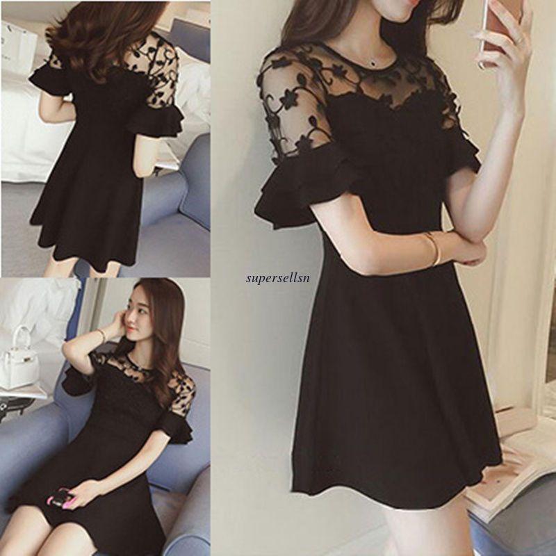 5e01dbde0f903 Korean Fashion Women Lace Evening Party Plus Size Summer Slim Short Bubble  Dress