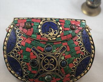 a685b3990b492 Mosaic Handmade Metal Bag. Beautiful Kuchi Clutch Metal Bag. Ethnic Clutch.  Tribal Bag. Clutch Bag. Unique and Colorful models. Clutch.