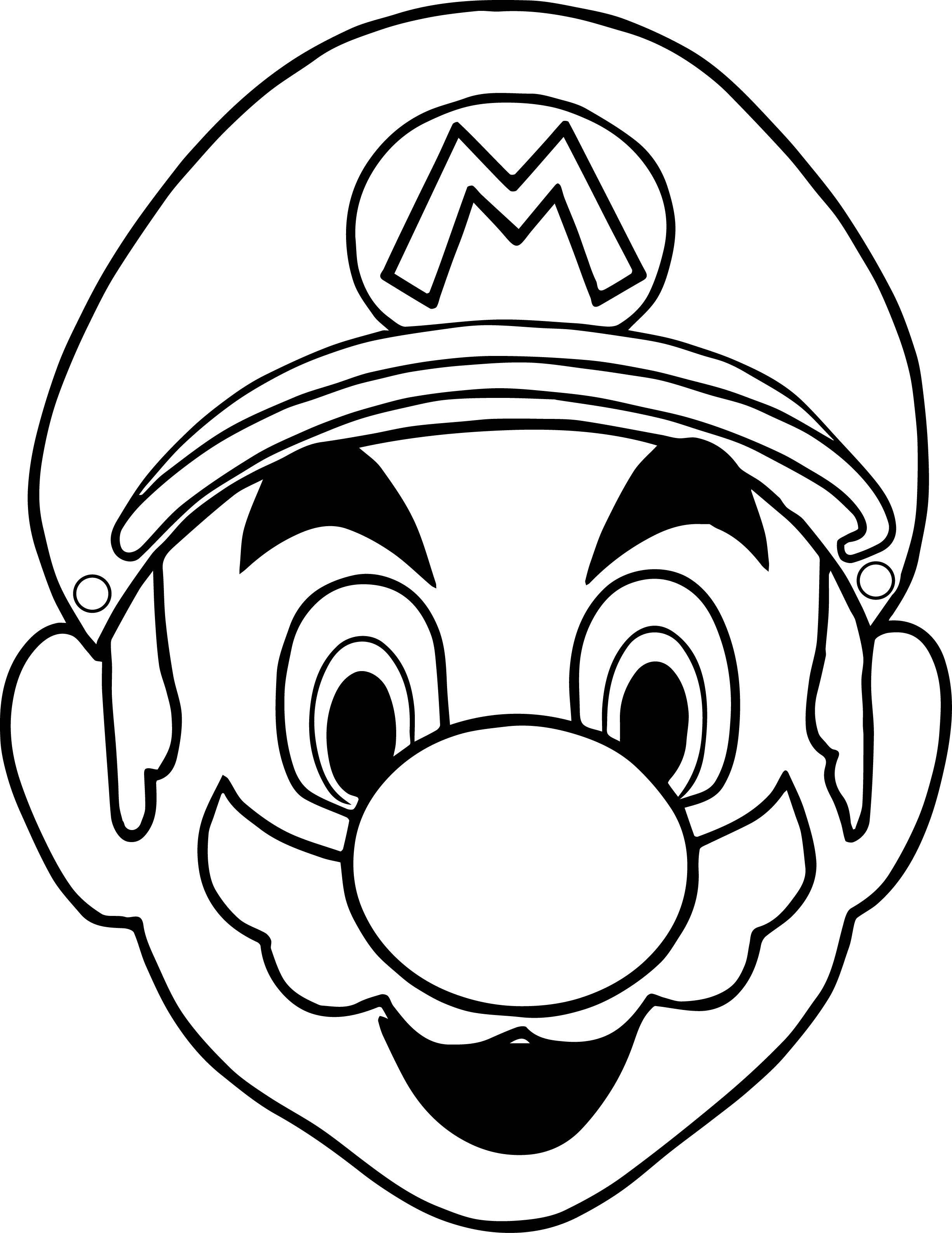 Halloween Masks Super Mario Face Coloring Page Dinosaur