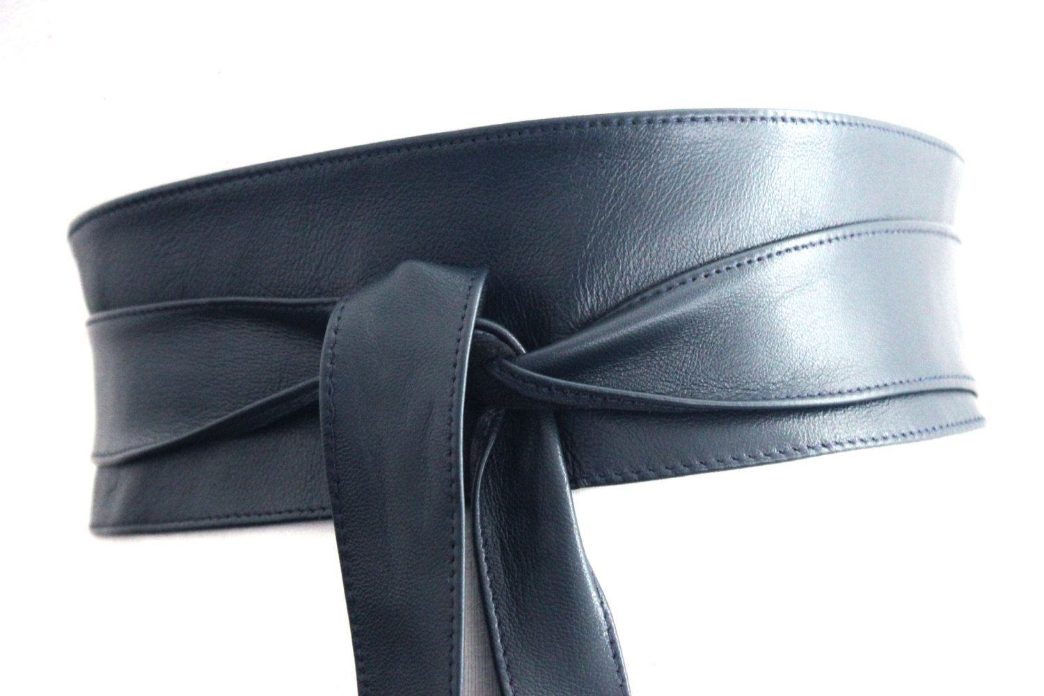 71b2f6fe52b Navy Blue leather obi belt is made from real leather with a smooth finish.