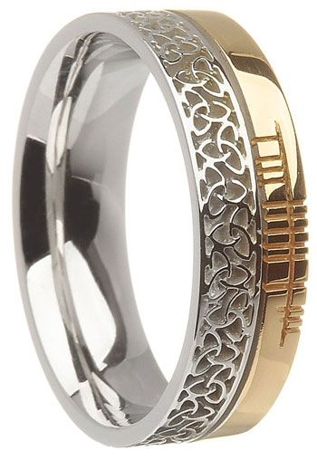 14k Two Tone Gold Trinity Knot With Ogham Script Wedding Ring