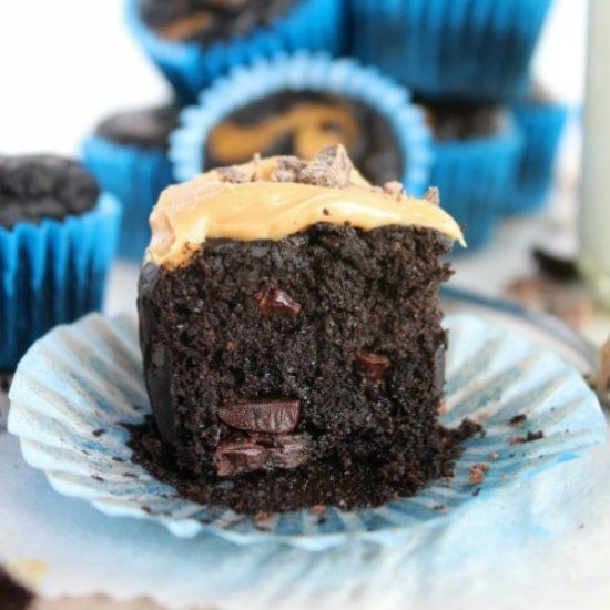 Flourless Double Chocolate Peanut Butter Mini Muffins - All natural, dark, decadent, seriously indulgent but secretly healthy.