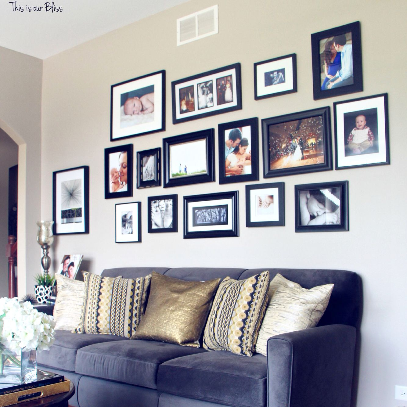 All black frame gallery wall monochromatic gallery wall over formal living room gallery wall with all black frames love the grey sofa with gold and black accents this is our bliss jeuxipadfo Image collections