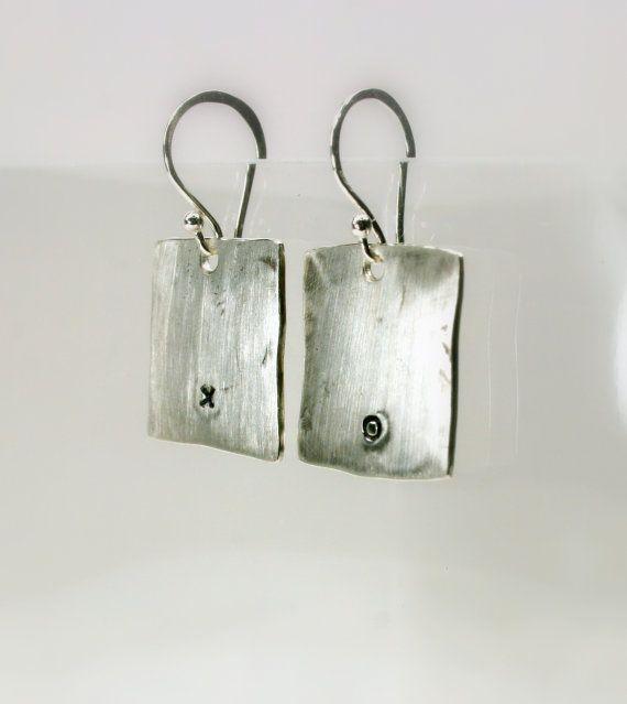 Silver Earrings Love Earrings Hugs and Kisses by jihidesigns