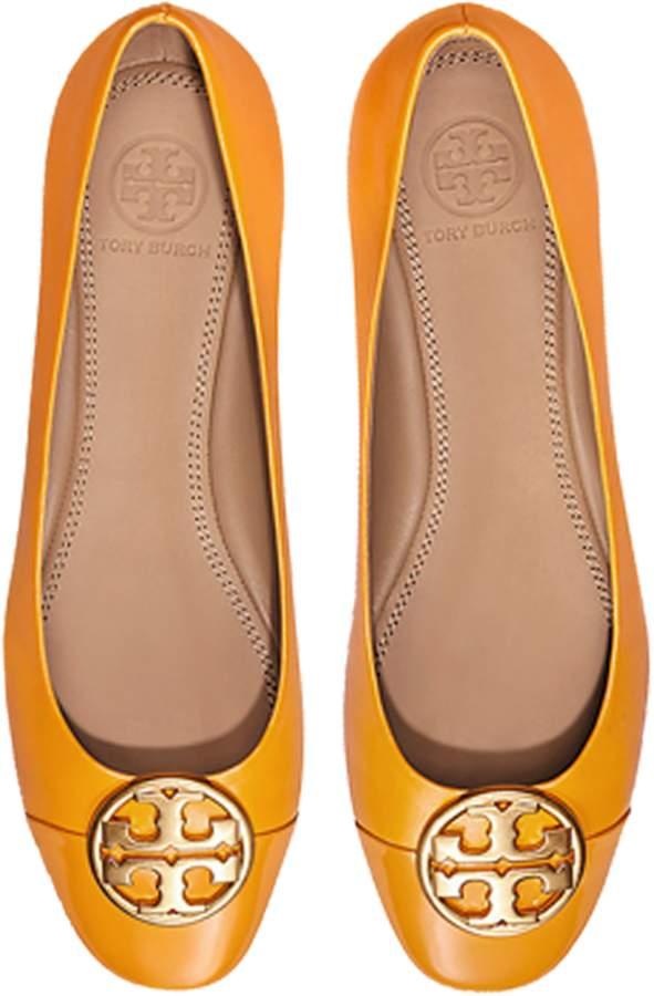 8fc398c01 Tory Burch Goldenrod Nappa   Patent Leather Chelsea Cap-Toe Ballet Flats
