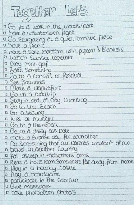 Nuevas citas Boyfriend Bucket Lists 38 Ideas Nuevas citas Boyfriend Bucket Lists 38 Ideas