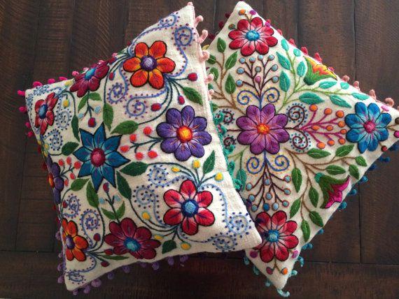 Pillow cushion covers Hand embroidered flowers Sheep & alpaca wool 16 x 16 handmade Set of 2 cream