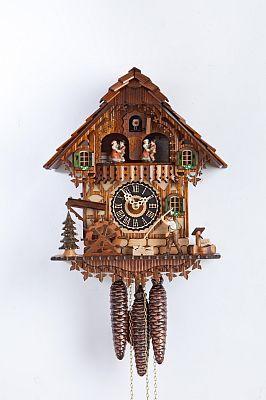 Cuckoo clock chalet painted, Val Gardena wood carving