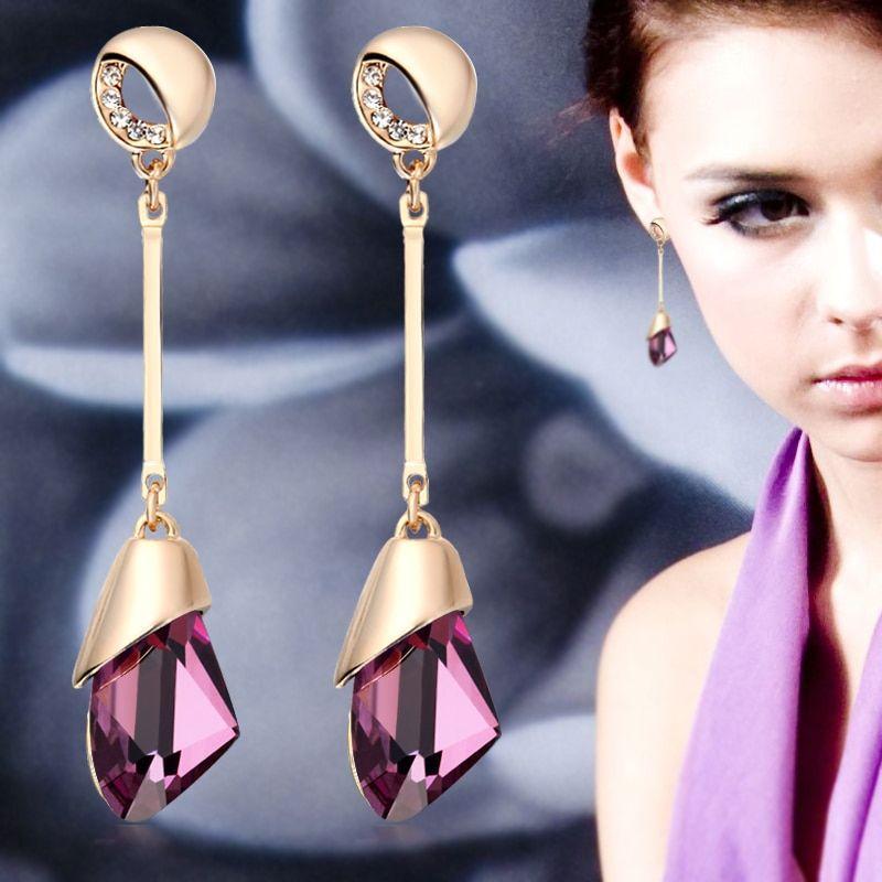 1705aa168 Classic Elegant Long Earrings For Women Fashion Geometric Crystal Gold Color  Water Drop Earring Brincos Bijoux Jewelry,#Fashion#Women#Crystal