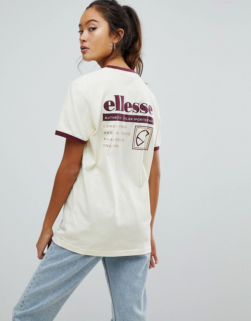 bb8208dac72e Ellesse Ringer T-Shirt With Retro Back Graphic - Cream