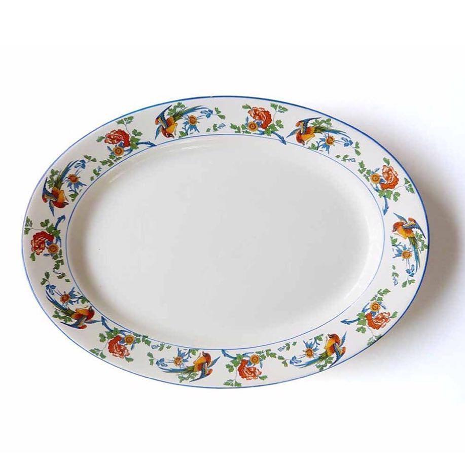 "Jones & Sons Crescent Ivory Golden Pheasant Large 16"" Oval Platter  Dinner Plate Transferware Staffordshire England"