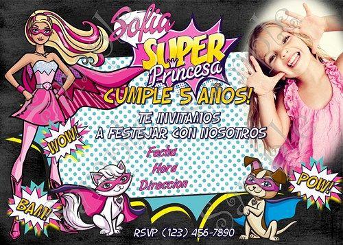 Invitaciones De Barbie Super Princesa Con Tarjeta De