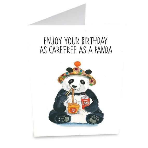 Carefree Panda Card For Him Happy Birthday Boyfriend Giant Funny Gift Fas