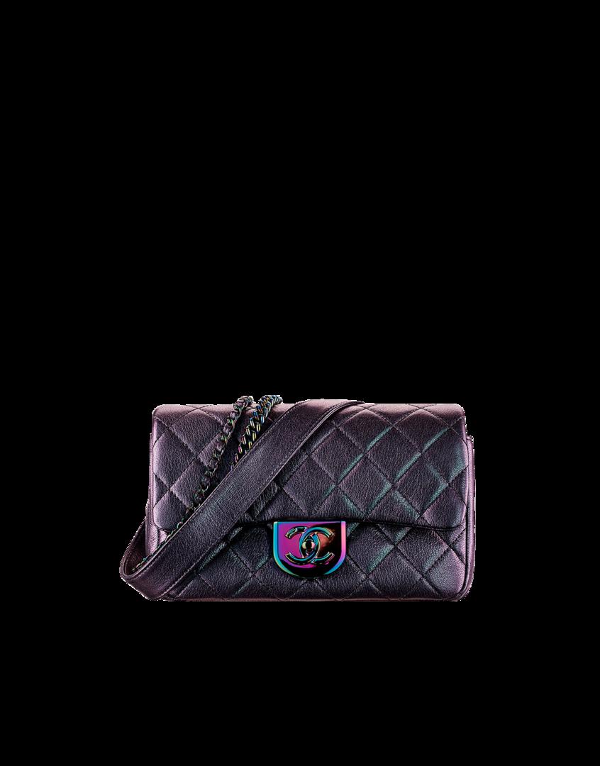 Bolsa pequena, couro de cabra cintilante-roxo - CHANEL