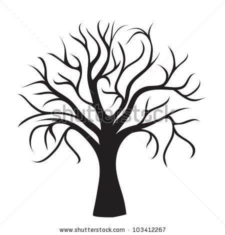 Cartoon Tree Drawing Without Leaves / Tree without branches clip art.