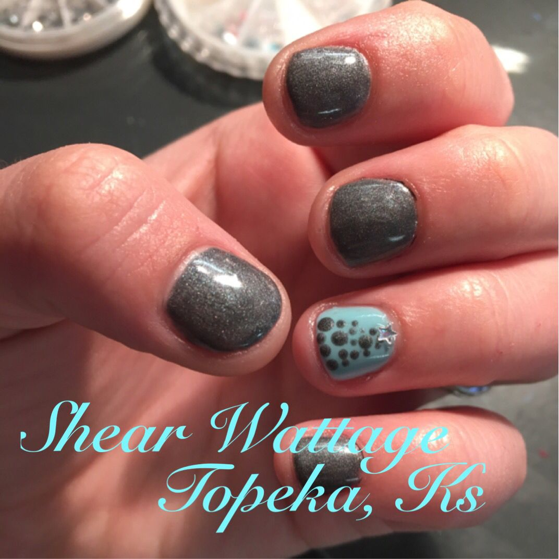 Blue And Grey Christmas Nails