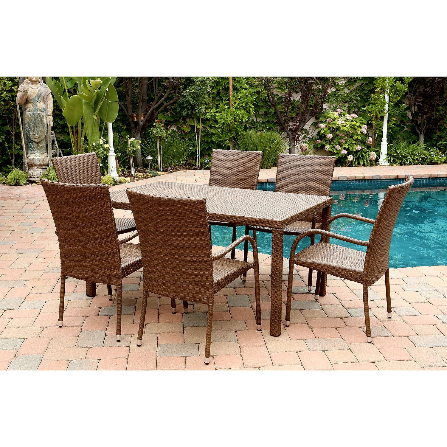 Madison Collection Extendable Teak Wood 9 Piece Dining Set In 2019