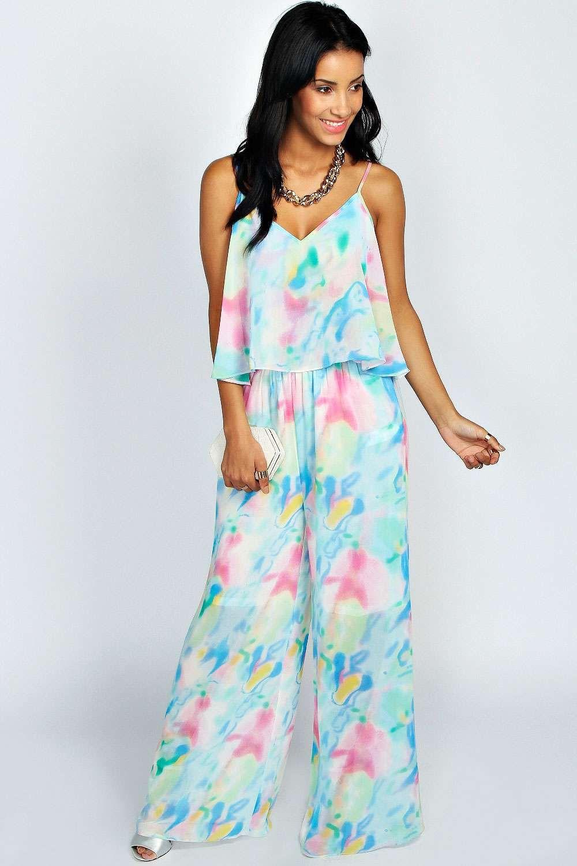 7419bb466312 boohoo Rosie Tie Dye Print Ruffle Top Chiffon Jumpsuit - multi White Romper