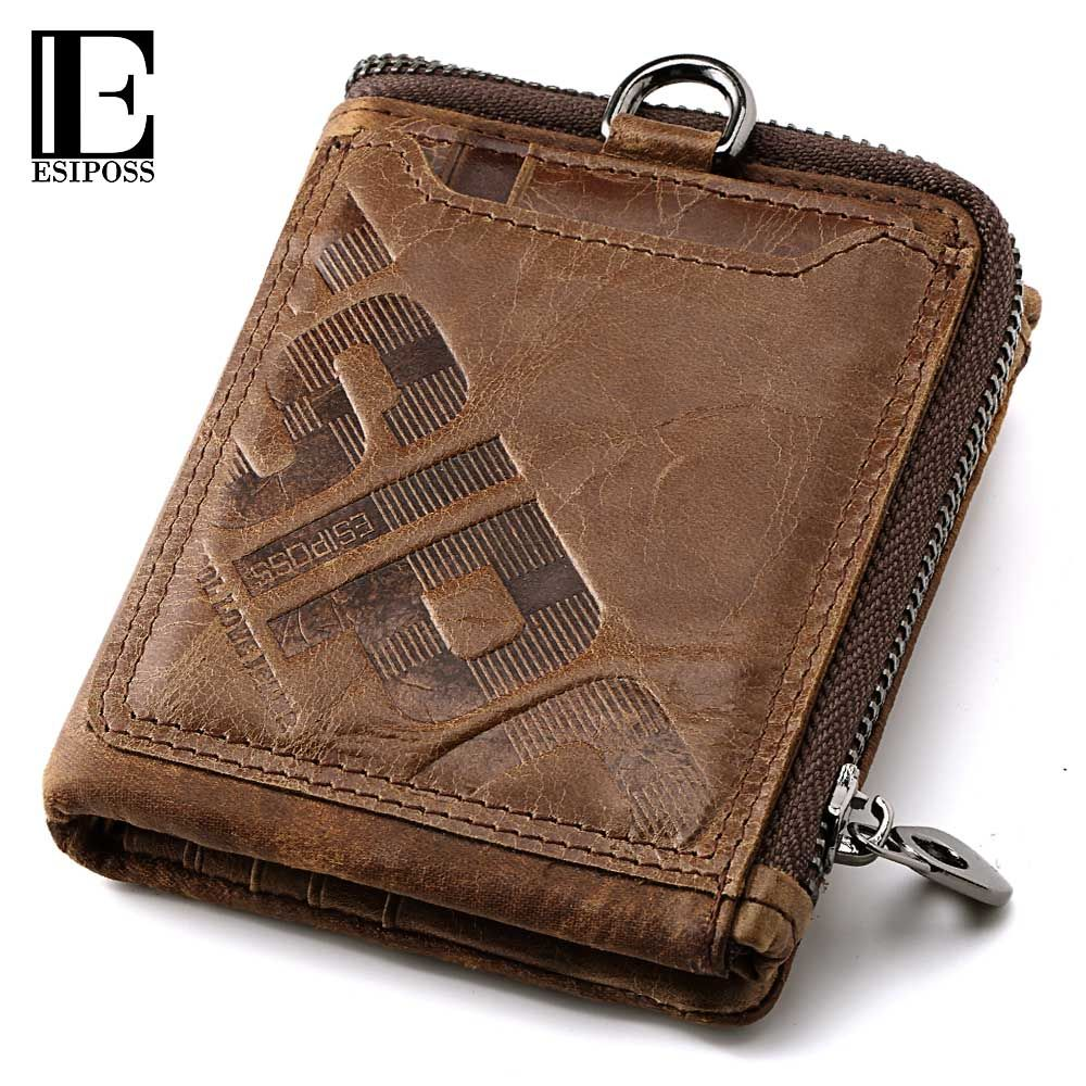 9a19915772b03 ESIPOSS Wallet Men Famous Brand Men s Genuine Leather Wallet Male Purse  Wallets With Coin Pocket Purse Card Holder Portomonee