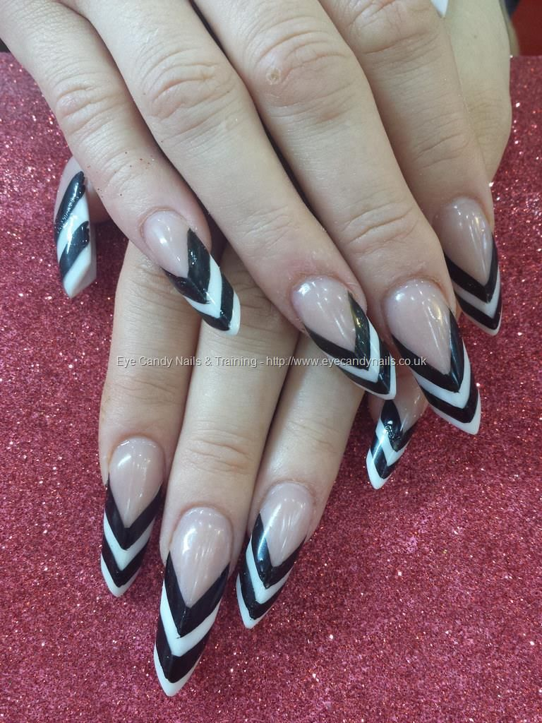 Edge nails with black and white striped tips | Nails | Pinterest ...