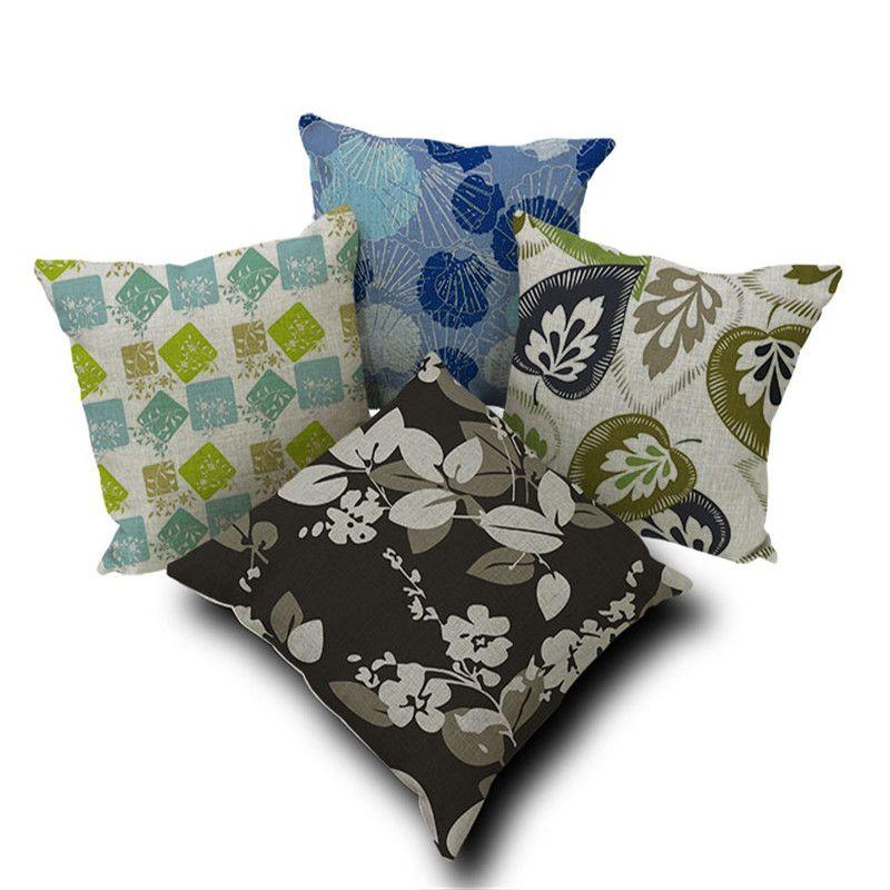 Decorative throw pillow covers case plant flower leaf retro ...