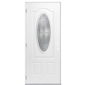 Masonite Hampton Decorative Gl Right Hand Outswing Primed Steel Prehung Entry Door With Insulating Core