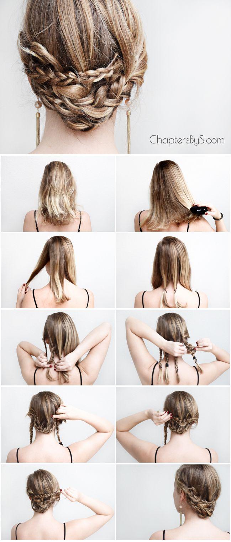 Casual Braided Updo For Medium Length Hair Thin Hair Shoulder Length Hair Chap Braids For Medium Length Hair Medium Length Hair Styles Braided Hairstyles