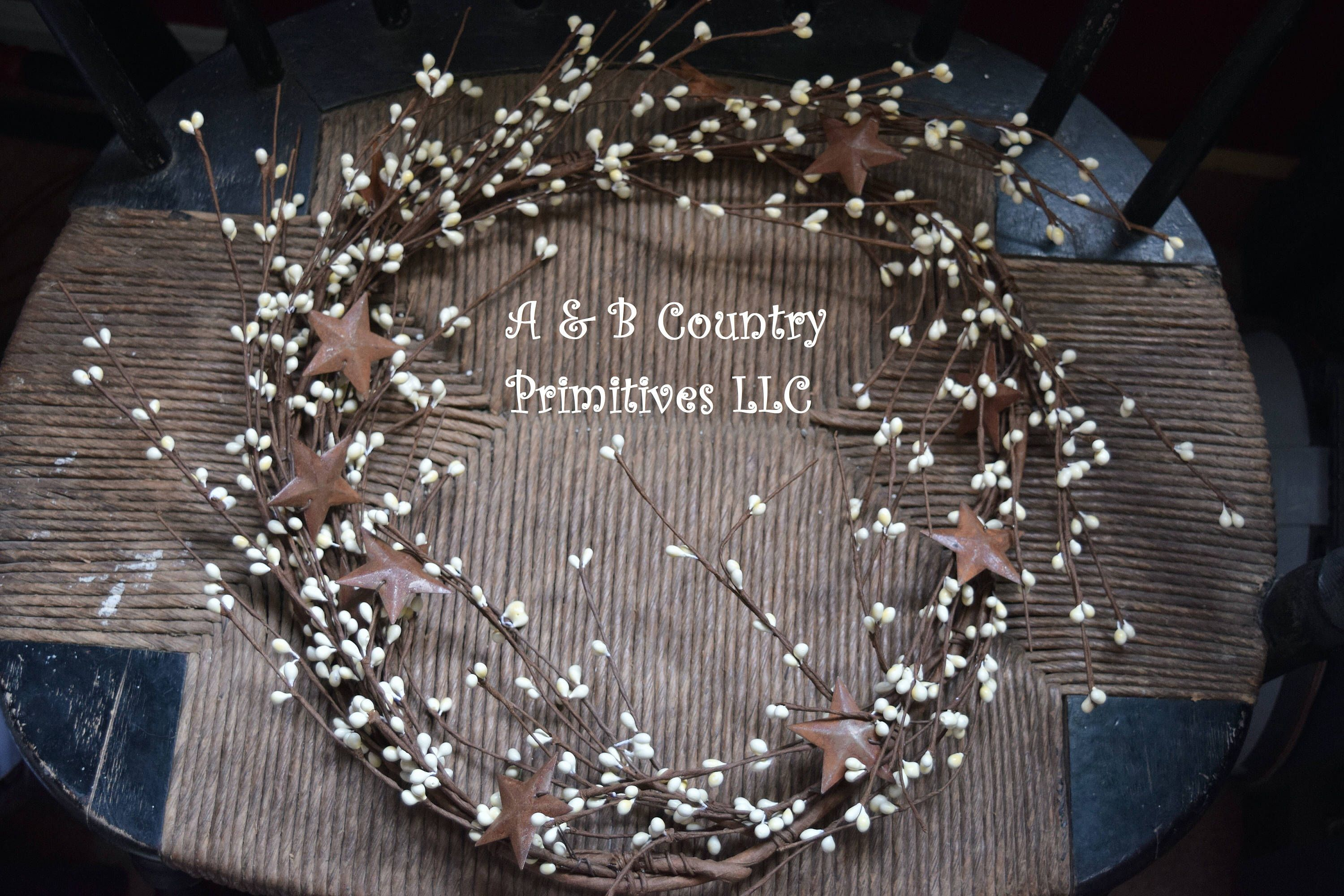 amazing Berry Garland With Stars Part - 9: Cream Berry Garland with Rusty Stars 5ft, Country Wreath Supplies, Country  Home Decor, Berry Garland with Stars, by ABCountryPrimitives on Etsy