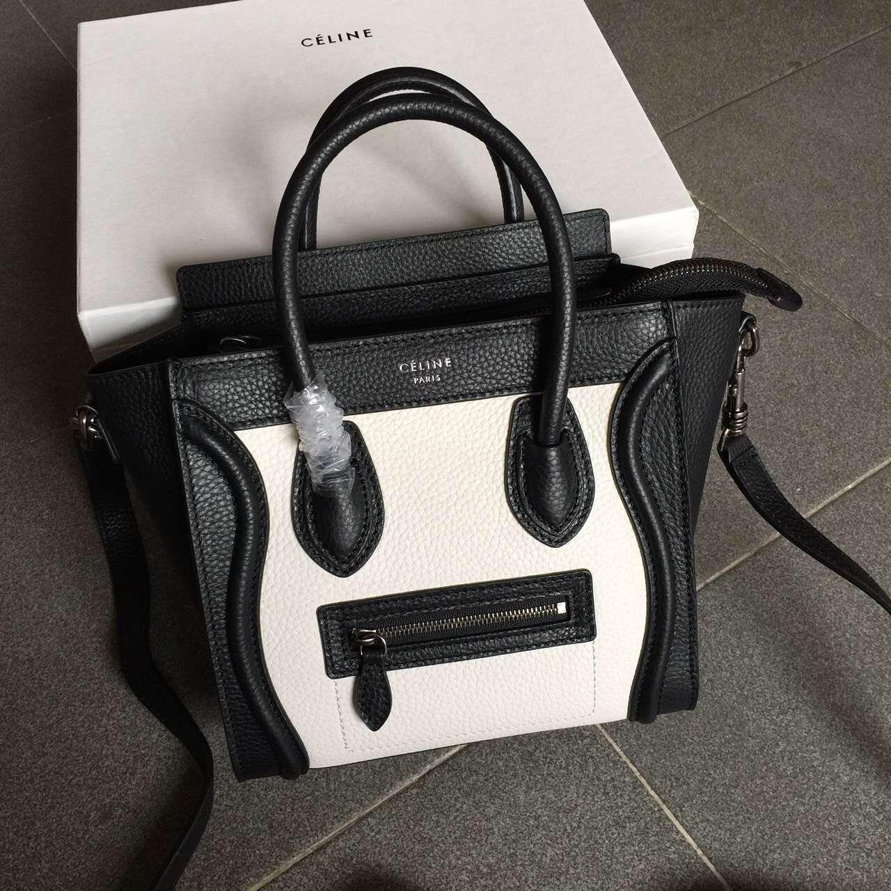 e62f1b8a2b Celine Two-tone Nano Luggage in Grainy Calfskin Black White