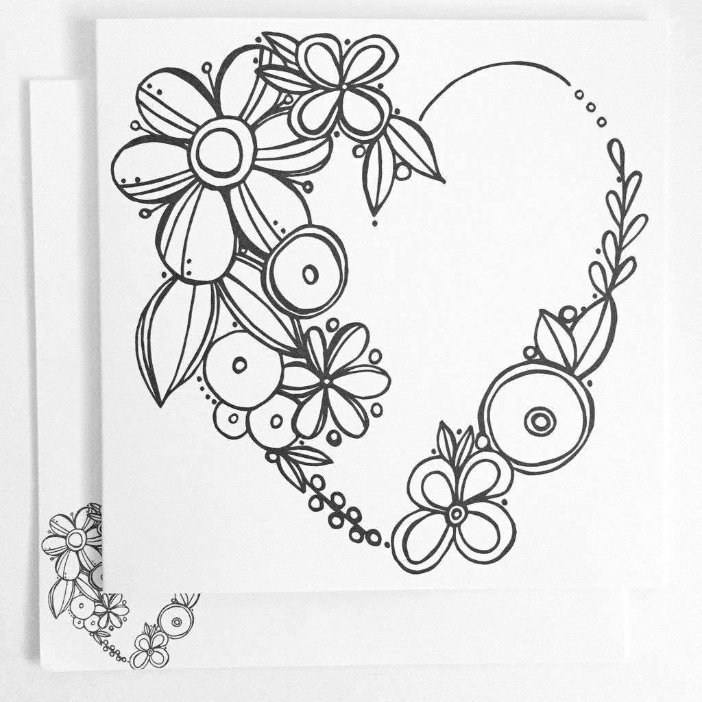 Floral Heart Coloring Card Color Card Flower Doodles Ink