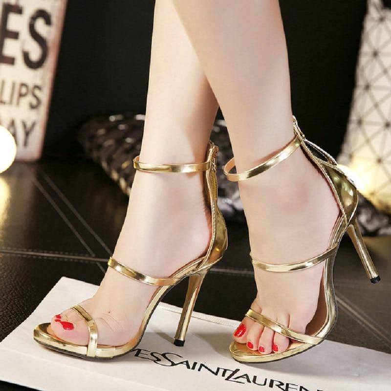 63e1c54aff0 Latest Women Open Toe Strappy Ankle Strap Gold Sandals Crystal Transparent  Clear Block Thick High Heel