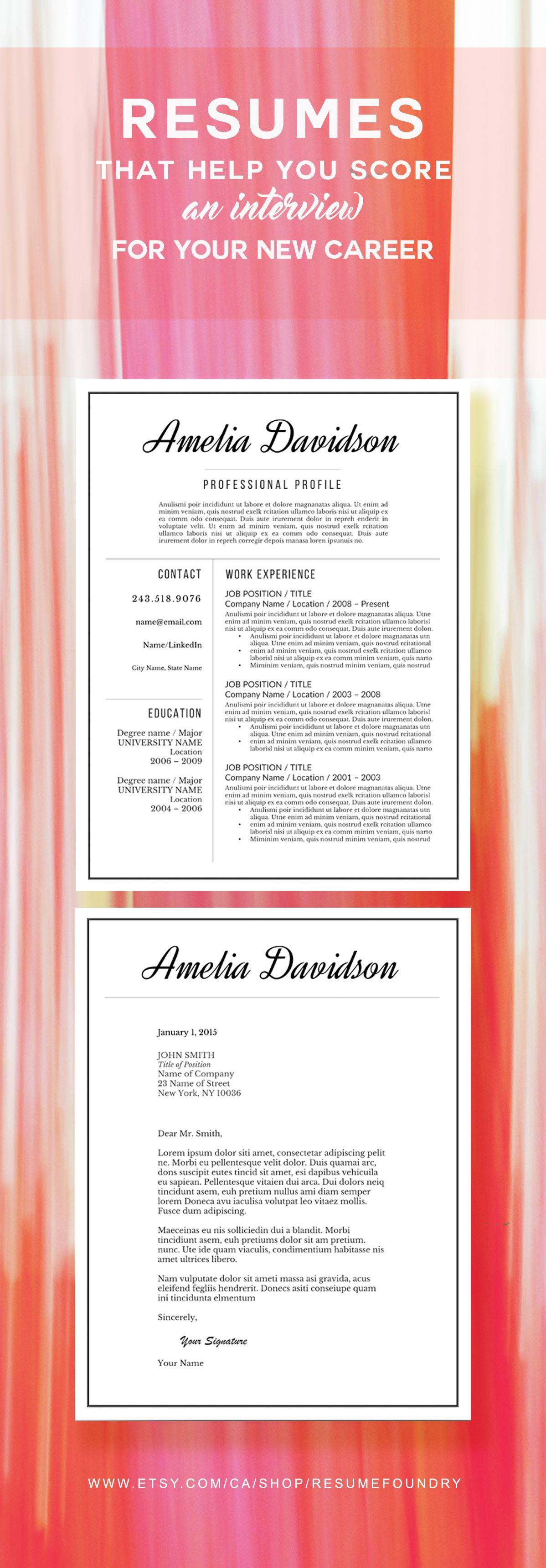 Elegant resume template, for use with Microsoft Word.   Resume ...
