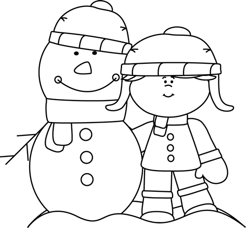Black and White Girl with Snowman Black, white girl