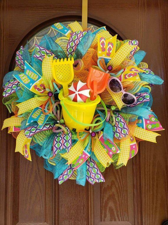 Photo of Beach wreath, Summer wreath, Pool wreath, Beach house,  Housewarming gift, spring wreath, Sunglasses wreath, Front door wreath, Realtor gift
